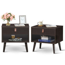 Set of 2Nightstand Sofa Side End Table Bedside Table with Drawer Storage Shelf