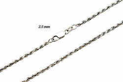 14k Solid White Gold Authentic Rope Chain Necklace 2.5mm Sz 16-30