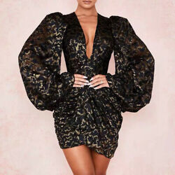 2019-20 Womens Sexy Designer Inspired Lace Deep V Neck Bubble Sleeves Dress