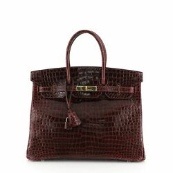 Hermes Birkin Handbag Red Shiny Porosus Crocodile with Gold Hardware 35