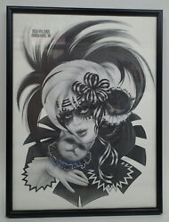 Rare 1996 Mardi Gras New Orleans Vintage Black And White Poster Print Cats