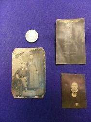 17 Of 23, Three Antique Tintype Photos, Man And Wife, Lady, Native American Lady