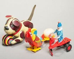 Set Of 3 Vintage Tin Toys Wind-up Litho Chicken, Dog, And Hungarian Clown On Bike