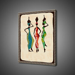 Weomen Fetching Water African Theme Canvas Picture Print Wall Art