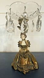 Victorian Bronze Lady Figure Prisms Compote Candy Dish Absolutely Stunning, Rare