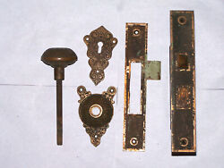 Large Antique Mortise Door Lock Strike Knob Backplate Key Hole Cover Very Orn