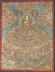 Antique Thangka From Mongolia Shaft In Buddhas