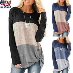 Womens Long Sleeve Irregular T-shirt Tunic Tops Round Neck Loose Blouse Pullover
