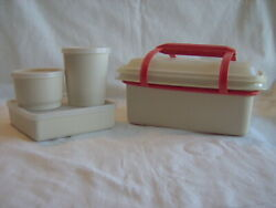 Tupperware Pack N Carry Lunch Box Set 1254 Sandwich Keeper Snack Container Tan