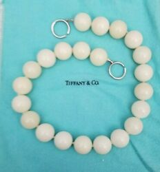And Co Paloma Picasso White Jade Agate Bead Necklace Sterling Silver Rare