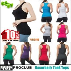 WOMENS Racerback Tank Tops Sleeveless PROCLUB Workout Gym Yoga Solid Undershirt $4.95