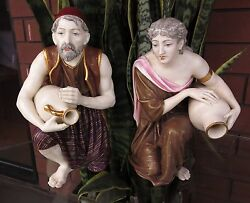 Royal Worcester Bronzed And Gilt Male Female Water Carrier Porcelain Figurine 1883