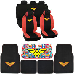 Wonder Women Full Gift Set - Floor Mats, Seat Covers, Autoshade For Car And Suv