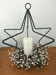 Amish made wrought iron 3D Star candle holder centerpiece w berries and candle