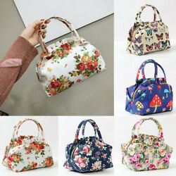 Insulated Lunch Bag Thermal Cooler Women Picnic Food Box Floral Handbag Tote