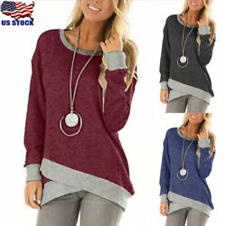 Womens Casual Round Neck Tunic Tops Long Sleeve Loose Irregular Blouse Pullover