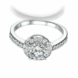SIDE STONES DIAMOND RING HALO WOMENS REAL 2 1/2 CARAT 18 KT WHITE GOLD VS1 D