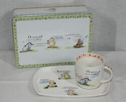 Disney Queens Gifts Classic Winnie The Pooh 3 Pc Tin, Plate,and Mug Set New