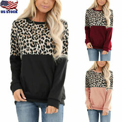 Women Long Sleeve Leopard Print T-Shirt Casual Loose Tunic Top Round Neck Blouse