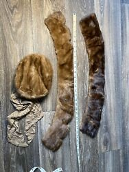 Vintage Womens Fur Collar and Hat Lot Mink Rabbit Silk 1920's 1940's Look