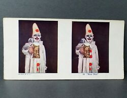 View Card Stereo Stereoview 1925 Near Beer Creepy Clown A C Co Vintage Colored