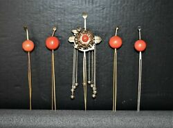 18th century Japanese floating world set of five noble woman silver hair pins