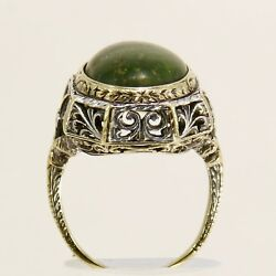 Vintage 14k White And Yellow Gold Turquoise Cabochon Ring