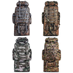 100L Outdoor Molle Military Tactical Bag Camping Hiking Trekking Backpack Camo $24.99