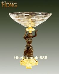 42 Cm Western Art Deco Bronze Glass Half-naked Young Women Girl Plates Tray Dish
