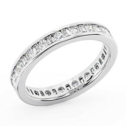 1.25ct Channel Set Baguette And Round Cut Diamonds Eternity Ring In Metal 18k Gold