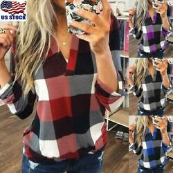Plus Size Women V-Neck Plaid Blouse Ladies Casual Loose Long Sleeve T Shirt Tops