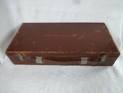 Antique Leather N Wood Draftsmans Engineers Box W Tools Templates Pencil Leads