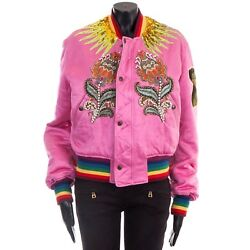 6500 Authentic New Pink Silk Embroidered And Reversible Bomber Jacket It36
