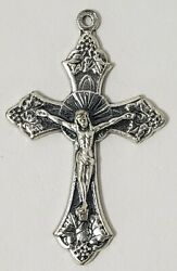 Silver Plate Crucifix Cross for Rosaries Jewelry Pendant Earrings Italy 3 pc Lot $8.10