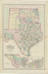 Antique Map Of Texas And Indian Territory By Gray 1875