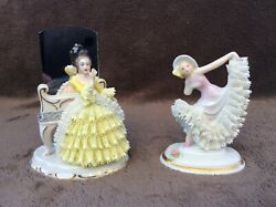 Dresden Sitzendorf Lady Figurine Lace Figurines Porcelain Seldom Going To Ball