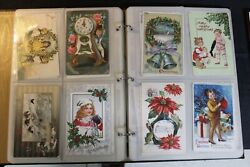 Antique Christmas New Year Santa Postcard Large Lot 117 Cards Embossed Holiday