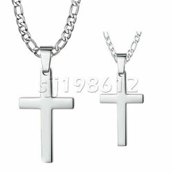 Mens Women Silver Cross Pendant Necklace Stainless Steel Figaro Chain 18quot; 30quot; $10.45