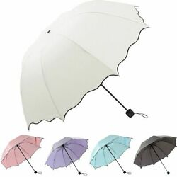 Portable Windproof Umbrella Anti-UV Sun Rain 3 Folding Compact Travel Parasol