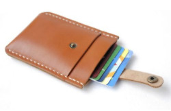 men women wallet purse cow Leather name Card Case pocket ID pouch bag brown 156 $5.47