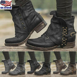 Womens Low Block Heel Ankle Boots Ladies Combat Army Military Buckle Boots Shoes