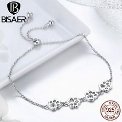 Bisaer Cute 925 Sterling Silver Cat / Dog Paw-print Theme Chain Link Bracelet