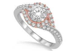 0.47 Ctw Round Diamond Semi Mount Ring In 14k Two Tone Gold Holiday Sale