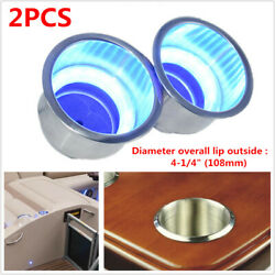 2pcs Stainless Steel Cup Drink Holder W/ Blue Led Light For Marine Boat Truck Rv