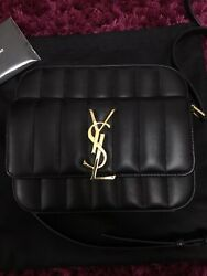 """Authentic Yves Saint Laurent """"VICKY""""CAMERA BAG in Quilted Lambskin Black Leather"""