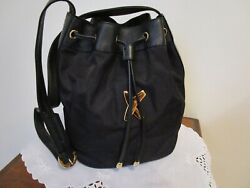 Paloma Picasso Shoulder Bucket Handbag Black Nylon Leather Trim Italy Excellent $116.99