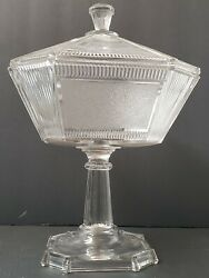 Vintage Art Deco Candy Dish Pedestal Extra Large Clear Glass Frosted Panels