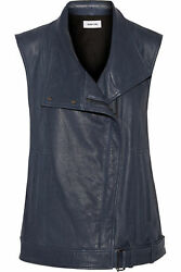 NWT Helmut Lang Size Medium Textured Cluster Leather Vest in Dark Lapis $1195
