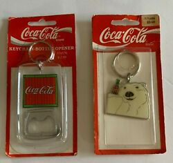 Coca Cola Bear Keychain And Coke Bottle Opener Key Chain Still On Cards