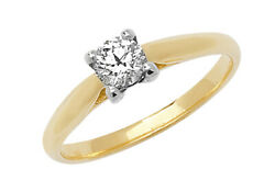 Diamond Solitaire Engagement Ring 18ct Yellow Gold Four Claw 0.35ctw Certificate